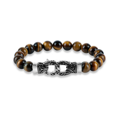 Genuine Brown Stainless Steel Beaded Bracelet