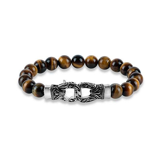 Genuine Brown Stainless Steel Beaded Bracelet