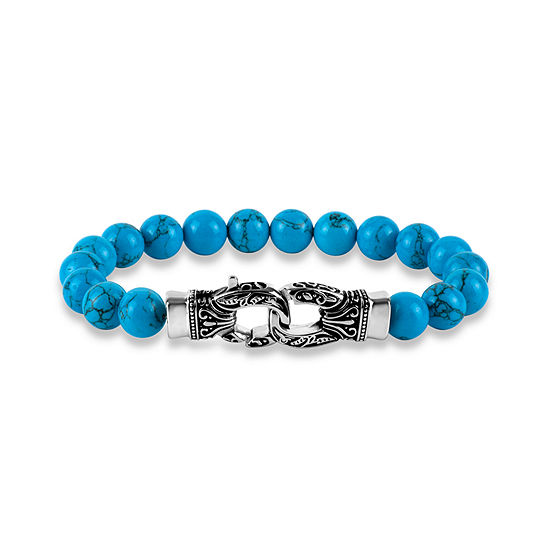 Mens Simulated Turquoise Stainless Steel Beaded Bracelet