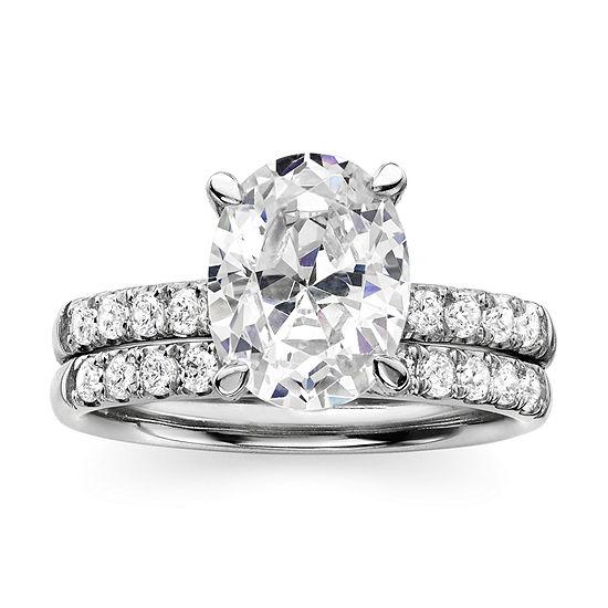 DiamonArt® Sterling Silver Cubic Zirconia Bridal Ring Set