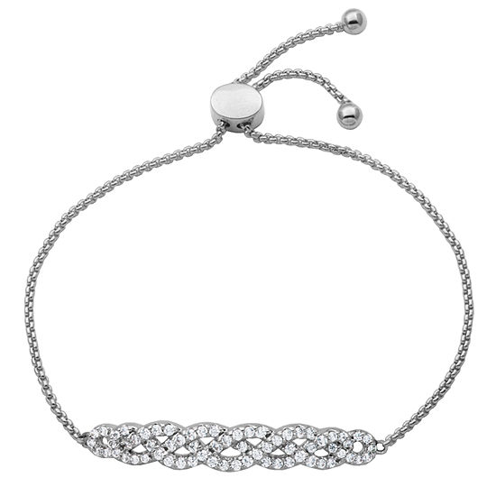 Diamonart  Sterling Silver 6/7 CT. T.W. Cubic Zirconia Twist Bolo Bracelet