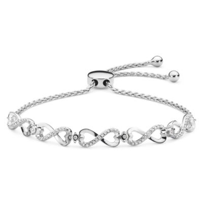 Infinite Promise Genuine White Diamond Sterling Silver Bolo Bracelet