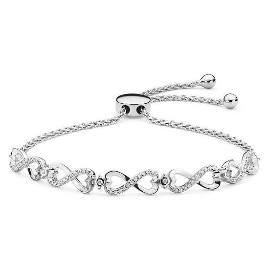 Infinite Promise Genuine White Diamond Sterling Silver Bolo Bracelet