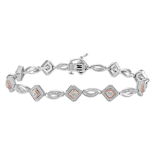 Womens 7.5 Inch 1/10 CT. T.W. Diamond Sterling Silver & 14K Rose Gold Over Silver Link Bracelet