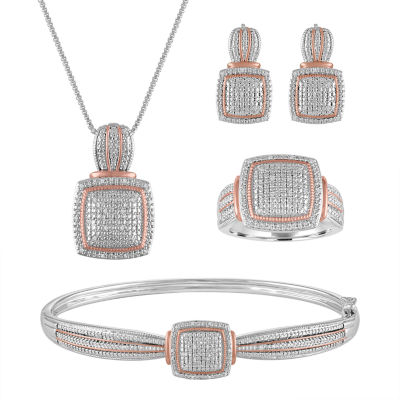 4 pc 15 CT TW White Diamond 14K Rose Gold Over Brass Pure Silver
