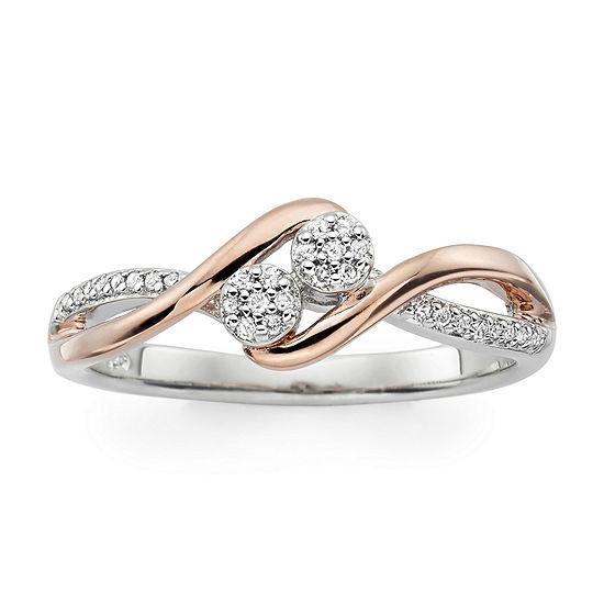 Diamond Blossom Womens Genuine White Diamond Sterling Silver Cocktail Ring