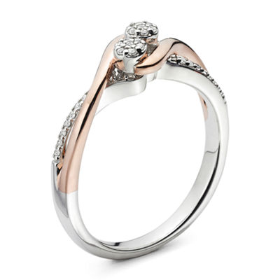 Diamond Blossom Womens White Diamond 14K Sterling Silver Cocktail Ring