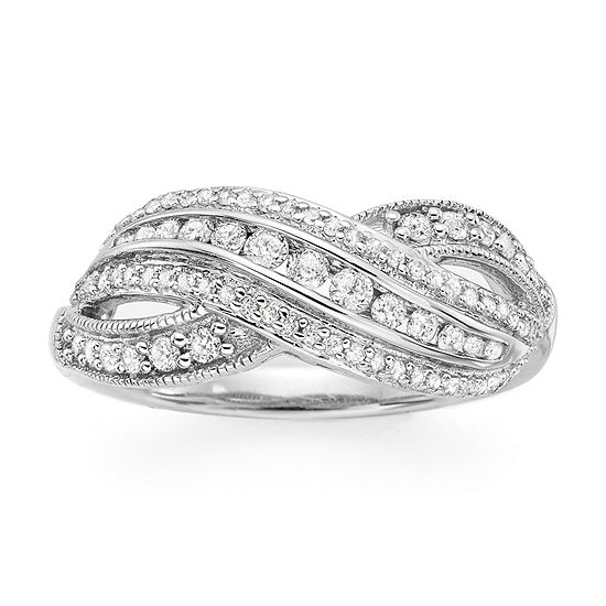 Infinite Promise Womens 1/2 CT. T.W. Genuine White Diamond Sterling Silver Cocktail Ring