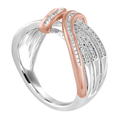 Womens 1/10 CT. T.W. White Diamond Sterling Silver &14K Rose Gold Over Silver Ring