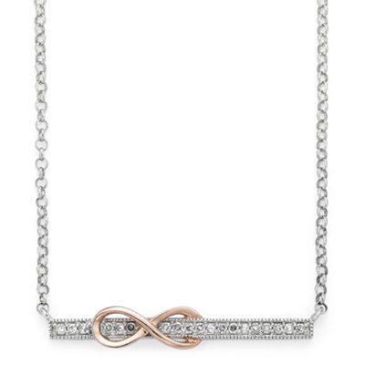 Infinite Promise Womens 1/10 CT. T.W. White Diamond Sterling Silver & 14K Rose Gold Over Silver Pendant Necklace