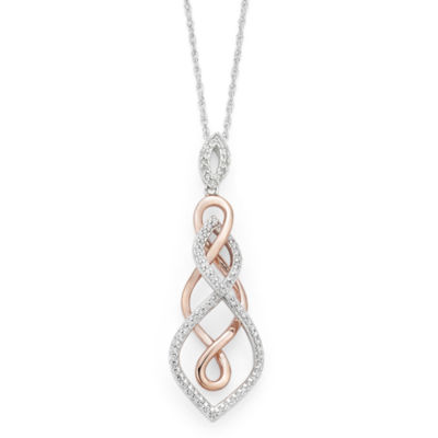 Infinite Promise Womens 1/4 CT. T.W. White Diamond Sterling Silver Pendant Necklace