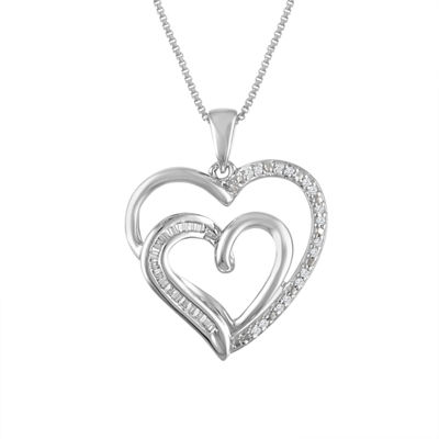 Forever Mine Womens 1/10 CT. T.W. Genuine White Diamond Sterling Silver Heart Pendant Necklace