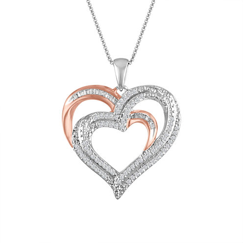 Womens 1/4 CT. T.W. White Diamond Sterling Silver Gold Over Silver Pendant Necklace