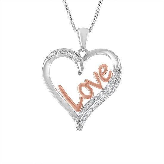 Womens 1/10 CT. T.W. White Genuine Diamond Sterling Silver & 14K Rose Gold Over Silver Heart Pendant Necklace