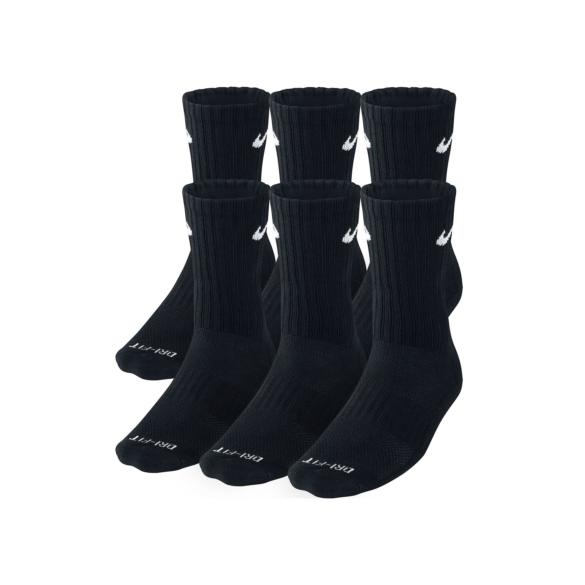 Nike Mens 6-pk. Dri-FIT Crew Socks plus size,  plus size fashion plus size appare
