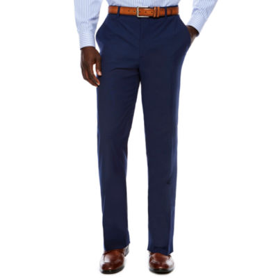 Men's JF Stretch Texture Med Blue Flat-Front Straight Leg Slim Fit- Pants
