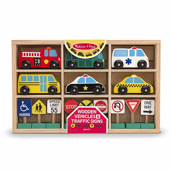 Melissa & Doug® Wooden Vehicles and Traffic Signs