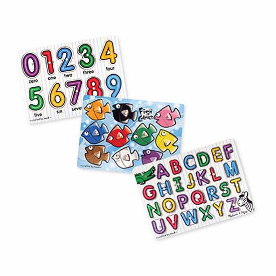 Melissa & Doug Classic Peg Puzzle Bundle (3 Puzzles)