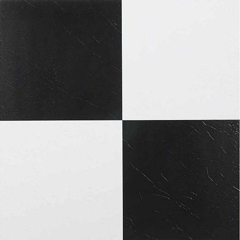 Nexus Black & White 12x12 Self Adhesive Vinyl Floor Tile - 20 Tiles/20 Sq Ft.