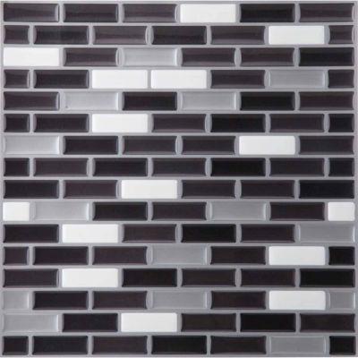 Magic Gel Silver/Black 9.125x9.125 Self Adhesive Vinyl Wall Tile - 1 Tile.82 Sq Ft.