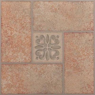 Nexus Beige Terracotta Motif Center 12x12 Self Adhesive Vinyl Floor Tile - 20 Tiles/20 Sq Ft.