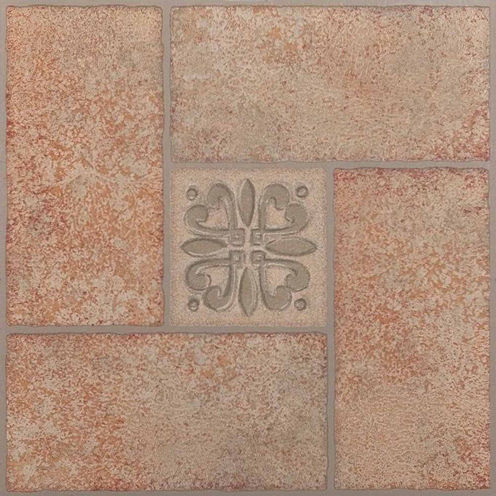 Nexus Beige Terracotta Motif Center 12x12 Self Adhesive Vinyl Floor Tile - 20 Tiles/20 Sq Ft.