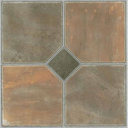 Tivoli Rustic Slate 12x12 Self Adhesive Vinyl Floor Tile - 45 Tiles/45 Sq Ft