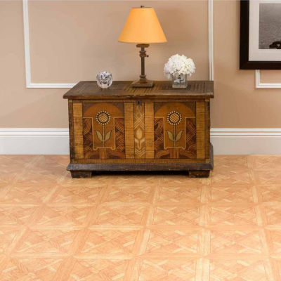 Tivoli Classic Parquet Oak 12x12 Self Adhesive Vinyl Floor Tile - 45 Tiles/45 Sq Ft
