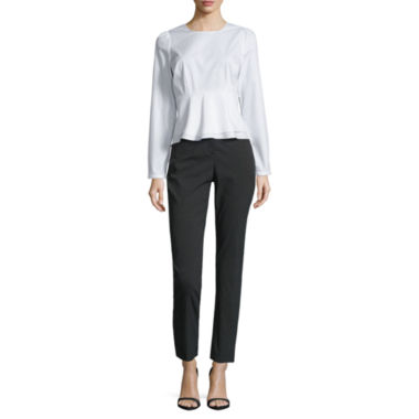 jcpenney.com | Worthington Long Sleeve Peplum Shirting Top and Slim Fit Ankle Pants