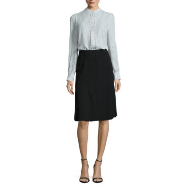 jcpenney.com | Worthington Long Sleeve Ruffle Button Front Shirt and Pleated Car-Wash Midi Skirt