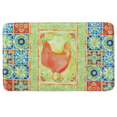 Bacova Guild Tiles And Hen Rectangular Kitchen Mat