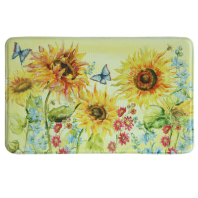 Bacova Guild Watercolor Sunflower Rectangular Kitchen Mat