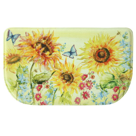 Bacova Guild Watercolor Sunflower Memory Foam Wedge Kitchen Mat