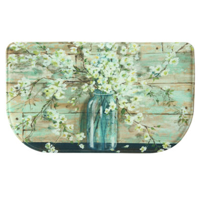 Bacova Guild Blossoms In Jar Memory Foam Wedge Kitchen Mat
