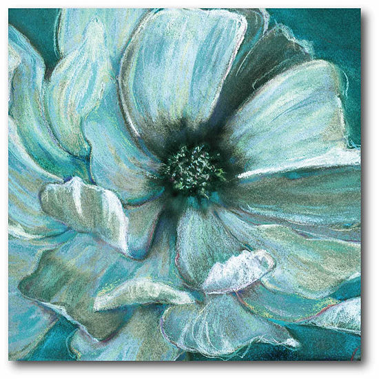 Painted Teal Flower Canvas Art