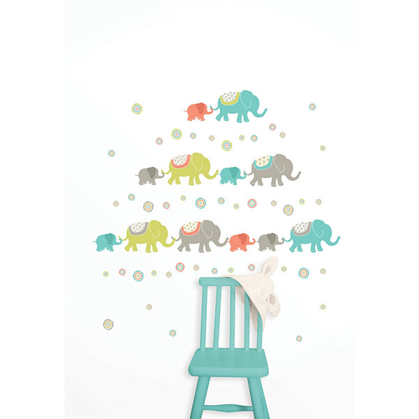 Wall Pops Tag Along Elephants Wall Art Decal