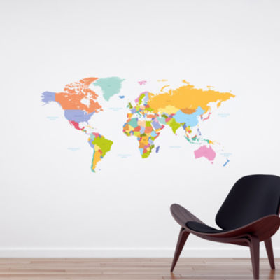 Brewster Wall Colorful Map Wall Decal