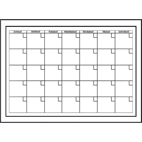 Wall Pops Peel & Stick White Board with Marker Monthly Calendar Decals