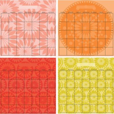 Wall Pops Peel & Stick Carnivalé 4 Piece Calendar Set with Marker