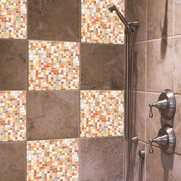 Brewster 7.9 in. x 23.7 in. Pearl Mosaic Peel and Stick Tile Wall Decal
