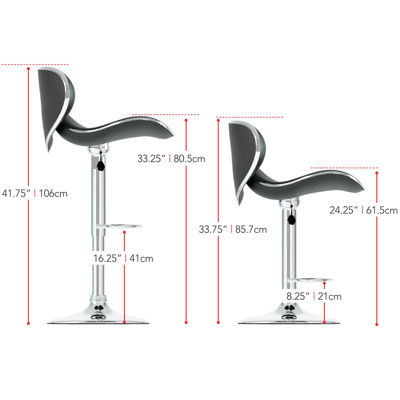 2-Pc. Form Fitting Adjustable Barstools