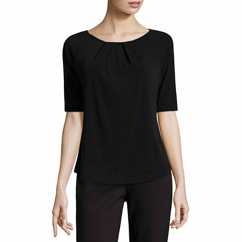 Liz Claiborne Elbow Sleeve Crew Neck T-Shirt-Womens