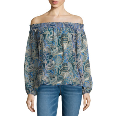 i jeans by Buffalo Off Shoulder Smocked Top