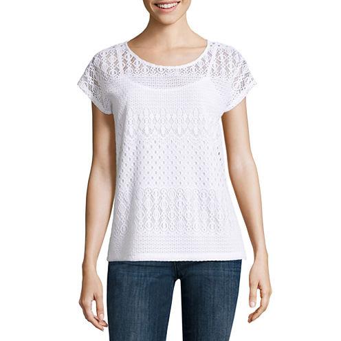 Liz Claiborne® Short-Sleeve Lace Knit T-Shirt