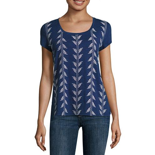 Liz Claiborne Short Sleeve Tee Round Hem Scoop Neck T-Shirt