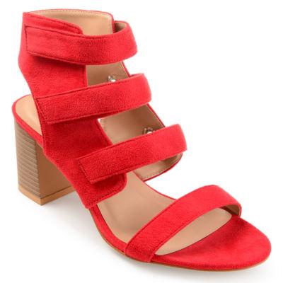 Journee Collection Perkin Womens Pumps Zip Open Toe Stacked Heel