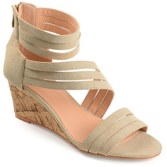 Journee Collection Womens Loki Zip Open Toe Wedge Heel Pumps