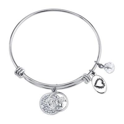 Footnotes White Stainless Steel Bangle Bracelet