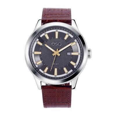 Esq Mens Brown Strap Watch-37esq017301a