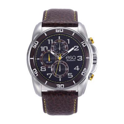 Esq Mens Brown Strap Watch-37esq021101a